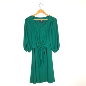 MAEVE Green Tie Knot Blouson Dress   Size: 0